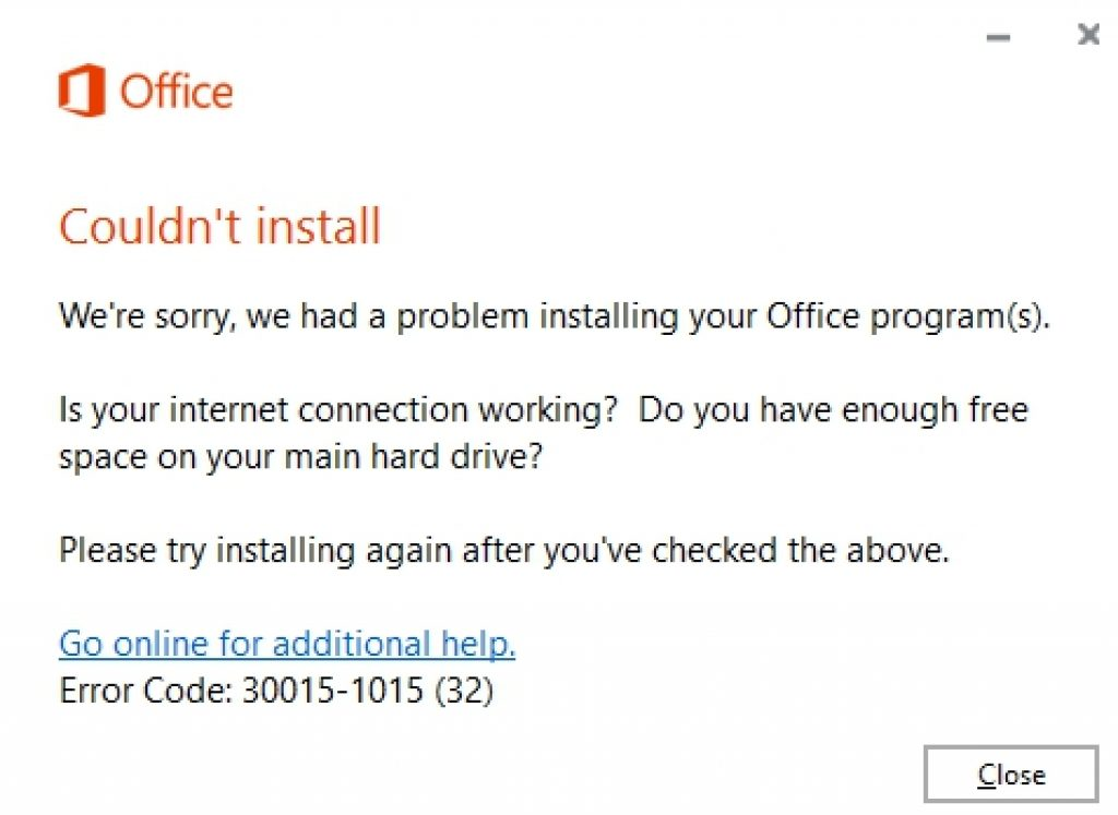 fix microsoft office installation error