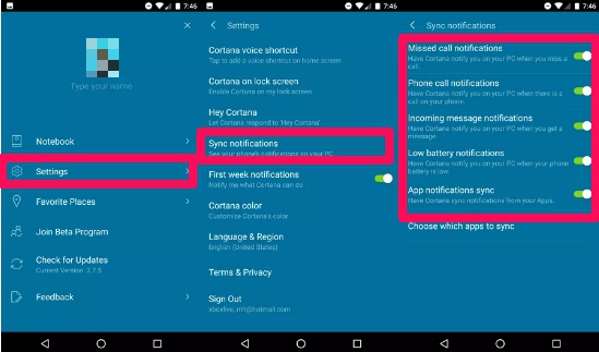cortana call notifications sync settings on Android