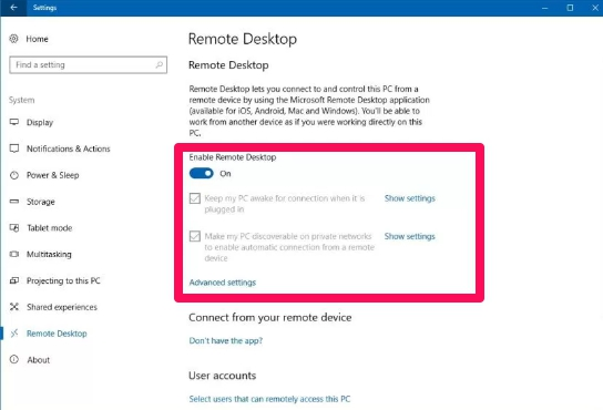 enable remote desktop windows 10