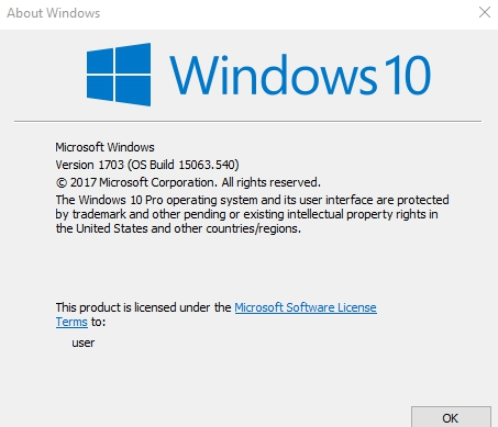 check windows 10 installed version using winver command