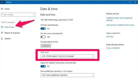 set time zone from settings on windows 10