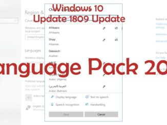 Windows 10 1809 Update Language Pack 2018